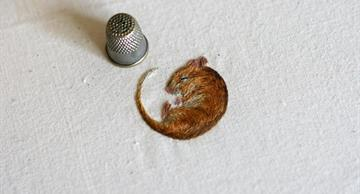 Embroidery as art: tiny delicate animals by Chloe Giordano!