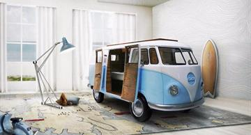 This offbeat bed designed as a famous VW bus will be fun for any child!