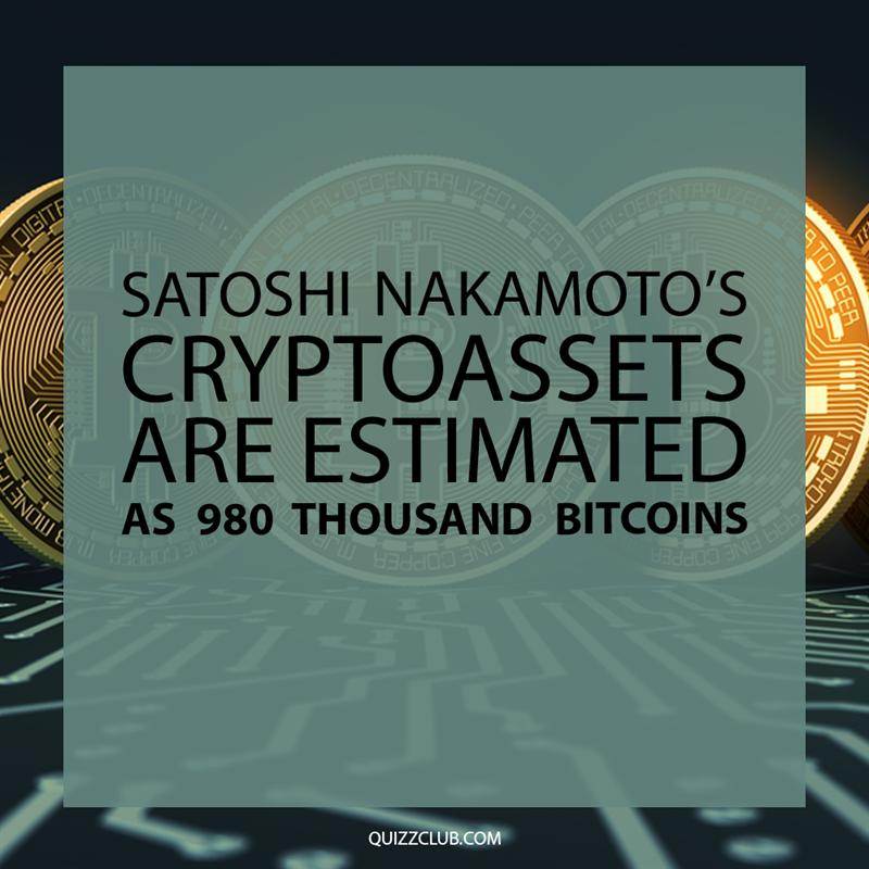 Society Story: Satoshi Nakamoto's cryptoassets are estimated as 980 thousand bitcoins.
