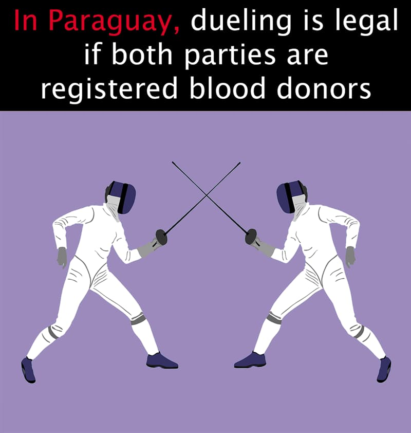 Geography Story: In Paraguay, dueling is legal if both parties are registered blood donors