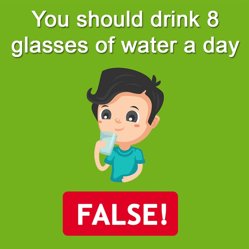Science Story: You should drink 8 glasses of water a day - FALSE!