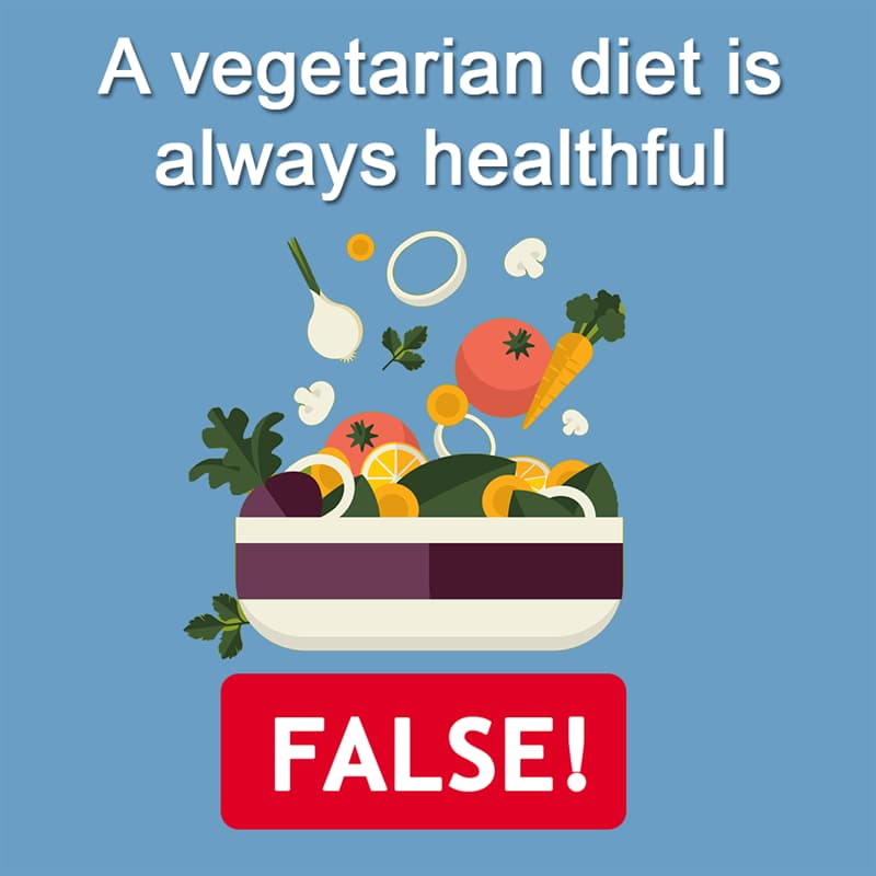 Science Story: A vegetarian diet is always healthful - FALSE
