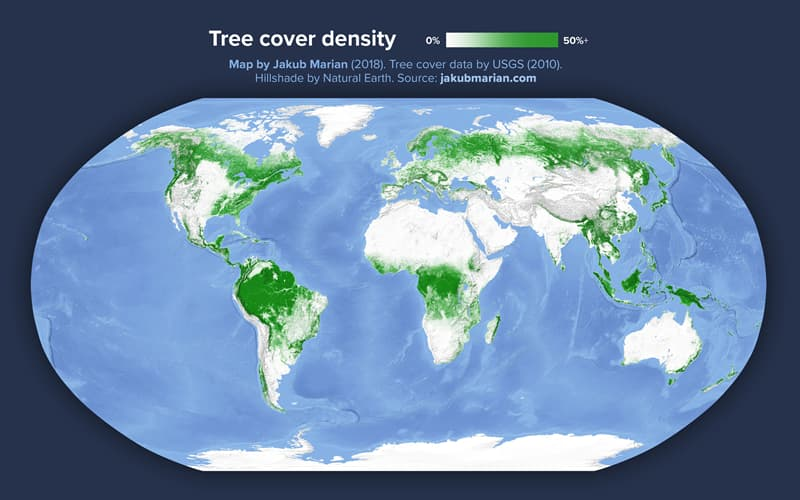 Geography Story: #12 Tree cover of the world