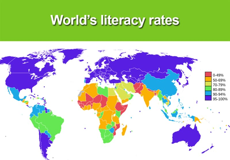 Geography Story: World literacy rates