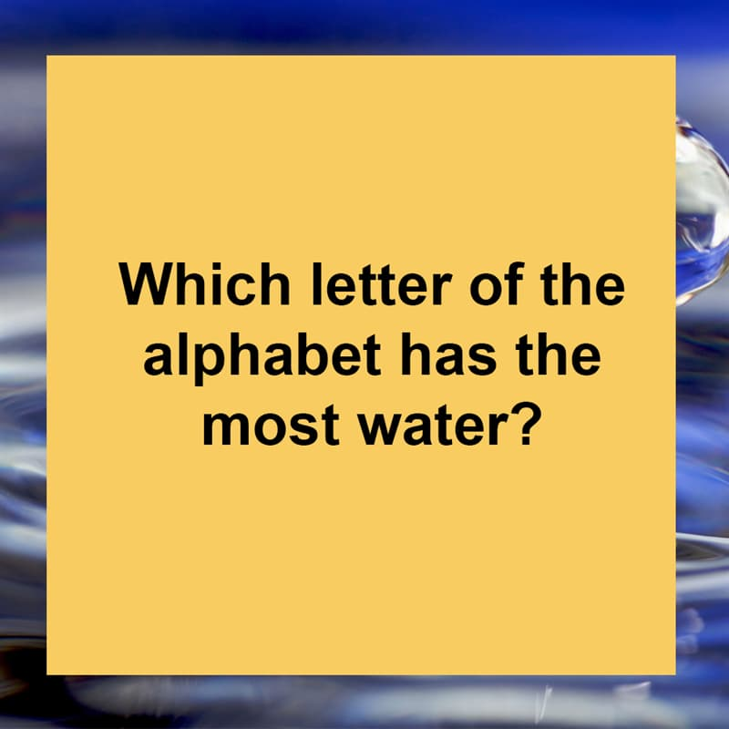 IQ Story: Which letter of the alphabet has the most water?