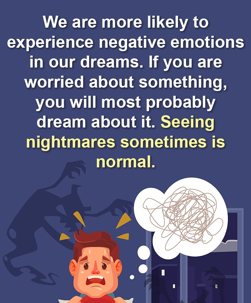 Science Story: We are more likely to experience negative emotions in our dreams. If you are worried about something, you will most probably dream about it.