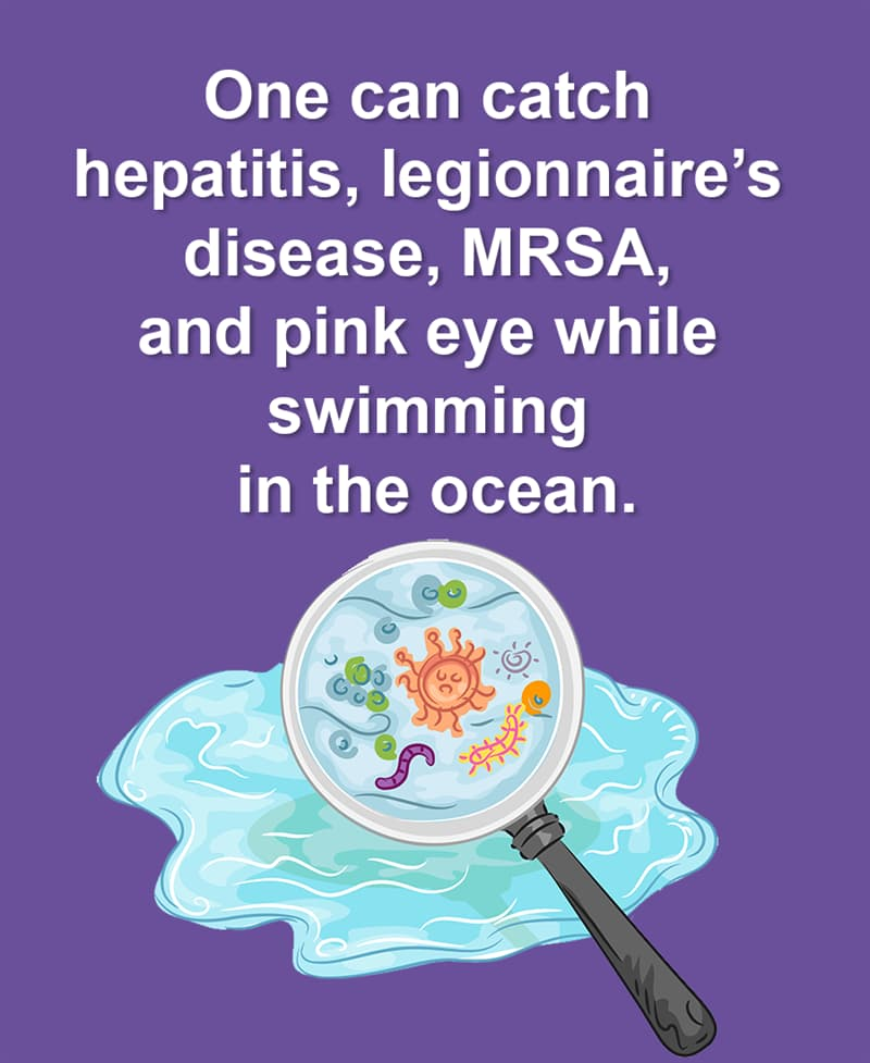 Geography Story: You can catch hepatitis, legionnaire's disease, MRSA, and pink eye while swimming in the ocean