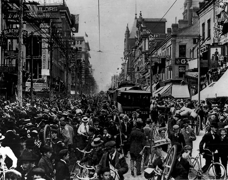 Geography Story: #4 Celebration of the end of the Boer War, Yonge Street, Toronto, Canada, 31 May 1900