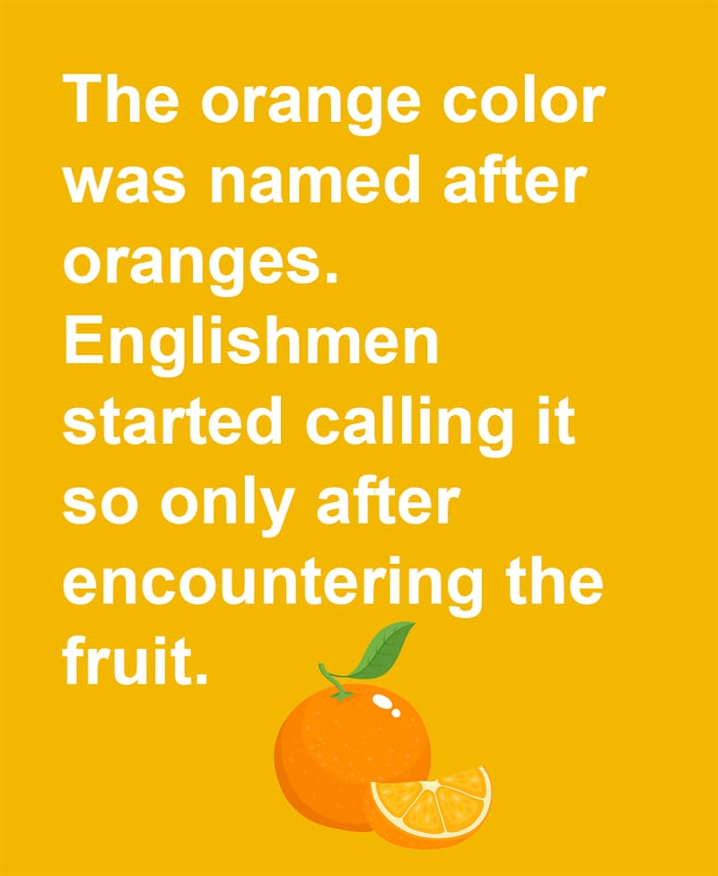 Science Story: The orange color was named after oranges. Englishmen started calling it so only after encountering the fruit.