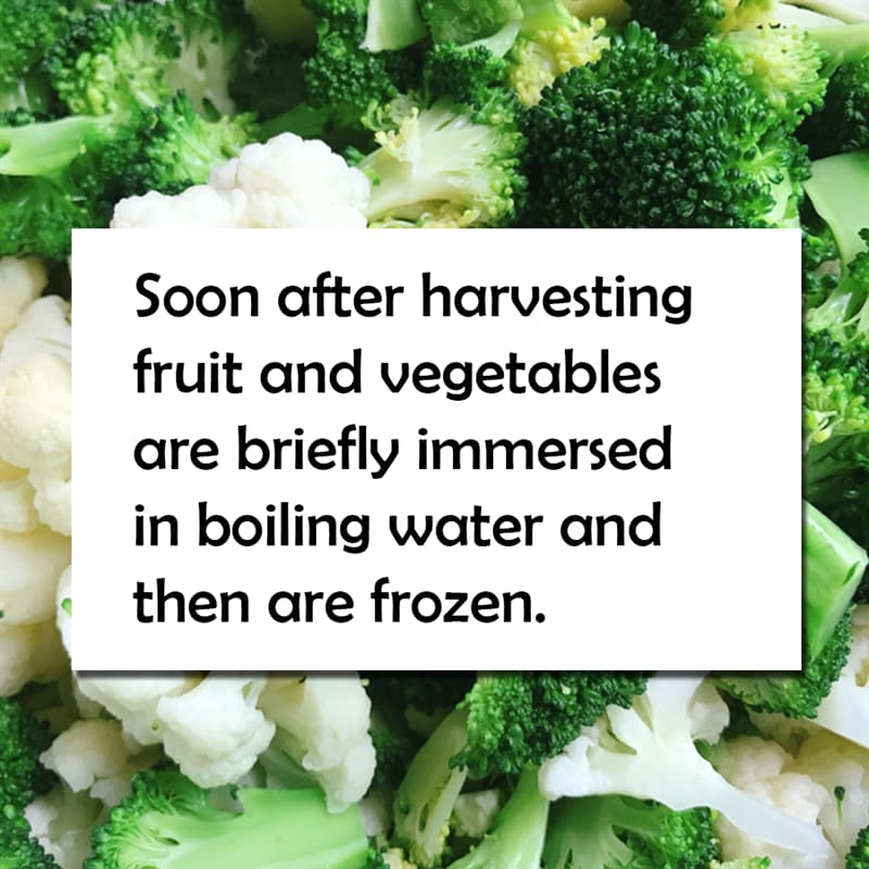 Science Story: Soon after harvesting fruit and vegetables are blanched – briefly immersed in steam or boiling water – and then are frozen