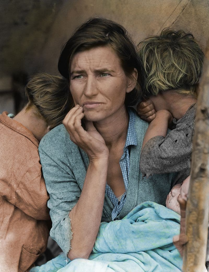 """Culture Story: #5 An iconic image of the Great Depression, """"Migrant Mother"""", captured by Dorothea Lange in 1936"""