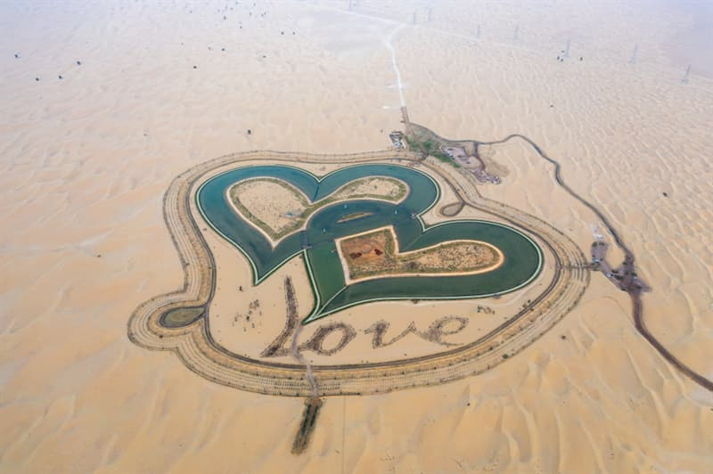 Geography Story: #3 Heart Love Lake in the middle of the desert
