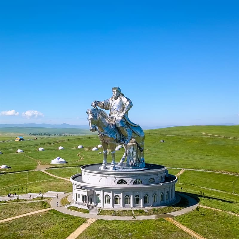 Geography Story: #18 The Genghis Khan Equestrian Statue near Ulaanbaatar stands at the height of 40 m (131 feet). It is symbolically pointed east towards Genghis Khan's birthplace and is located at the place where, according to legend, he found a golden whip