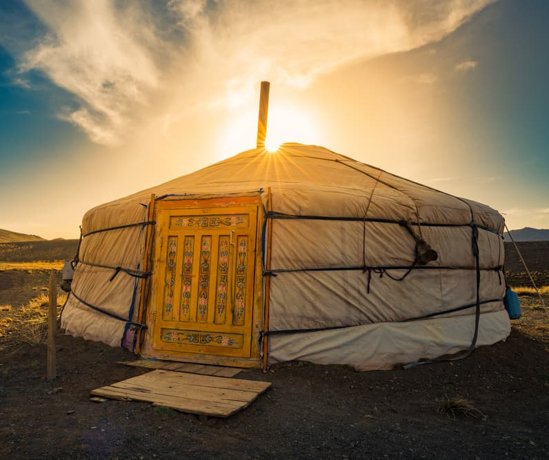Geography Story: #6 Nomadic families live in gers, large portable tents made from felt. Due to their circular shape, gers can be quickly heated in harsh winters and efficiently cooled in hot burning summers