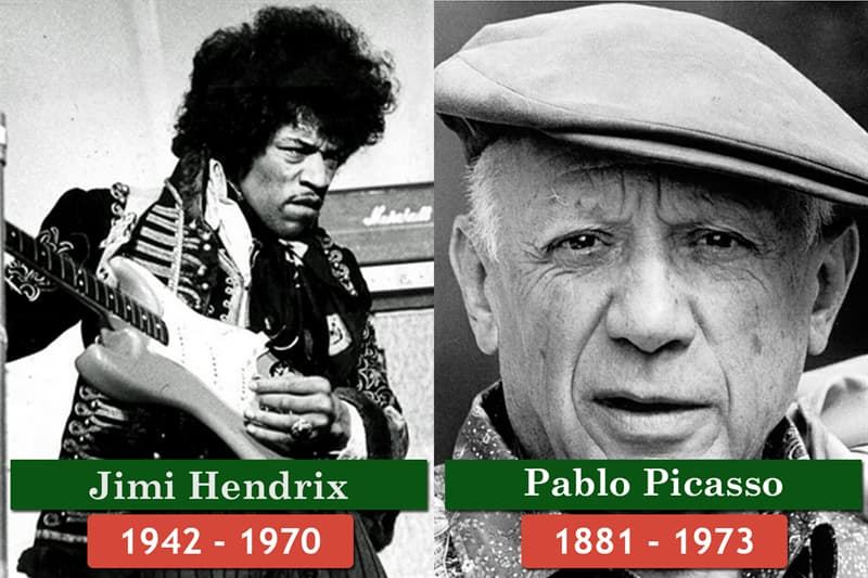 History Story: Unlikely historical contemporaries: Jimi Hendrix died earlier than Pablo Picasso