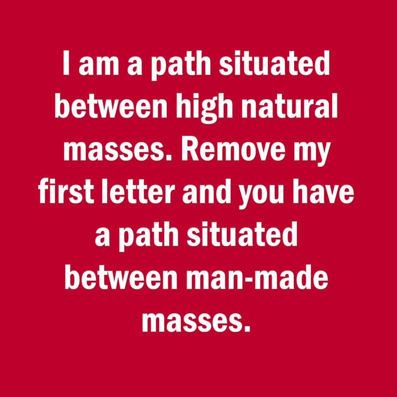 IQ Story: Funny riddle I am a pass situated between two high natural masses
