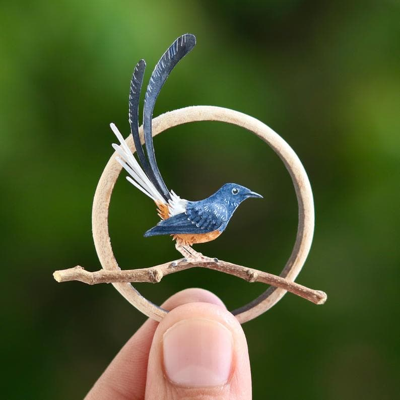 animals Story: White rumped Shama paper birds what's your hobby paper crafts