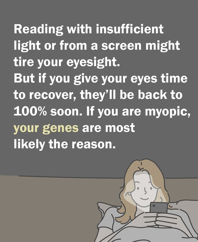 Science Story: Although reading with insufficient light or from a monitor might tire your eyesight, if you give your eyes time to recover, they'll be back to 100% in no time.