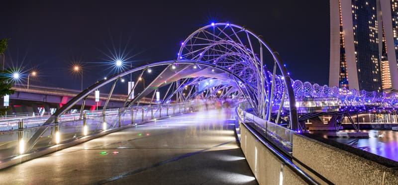 Geography Story: #3 The illuminated Hellix Bridge in Singapore