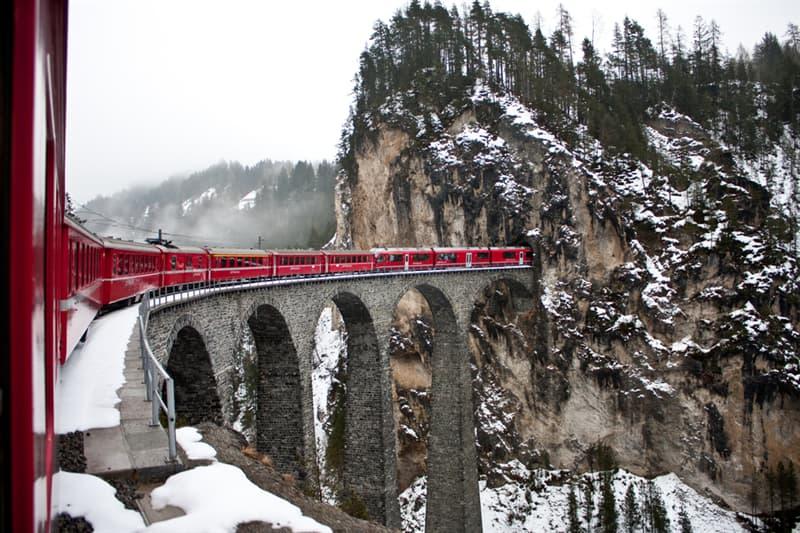 Geography Story: #8 The Landwasser Viaduct bridge around glacier mountains in Switzerland