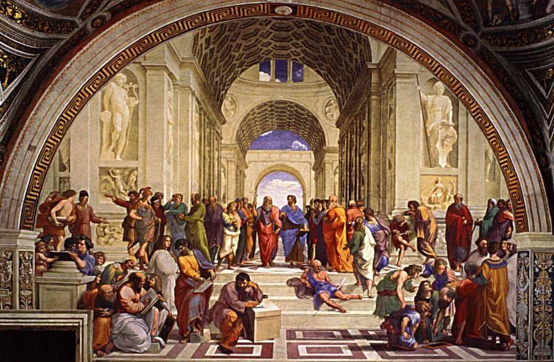 """Культура Вопрос: Известно, что на своей знаменитой фреске """"Афинская школа"""", размещенной в Ватиканском дворце, Рафаэль изобразил не только себя, но и еще нескольких известных современников. Кого из перечисленных исторических фигур нет на этой фреске?"""