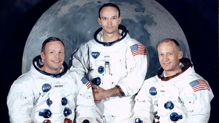 History Trivia Question: Who was with Neil Armstrong when he stepped on the Moon?