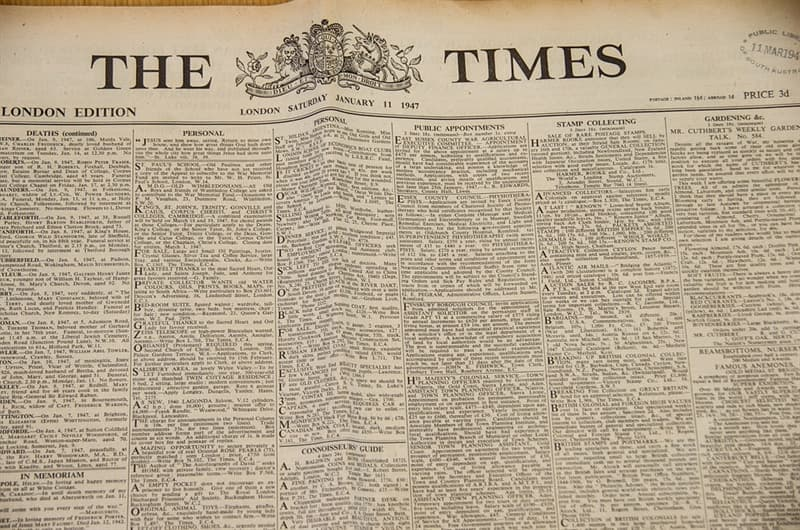 "Culture Trivia Question: When was ""The Times"" founded?"