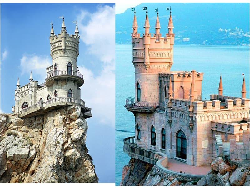 """Культура Вопрос: Замок """"Ласточкино гнездо"""" построен на отвесной горе в посёлке....."""