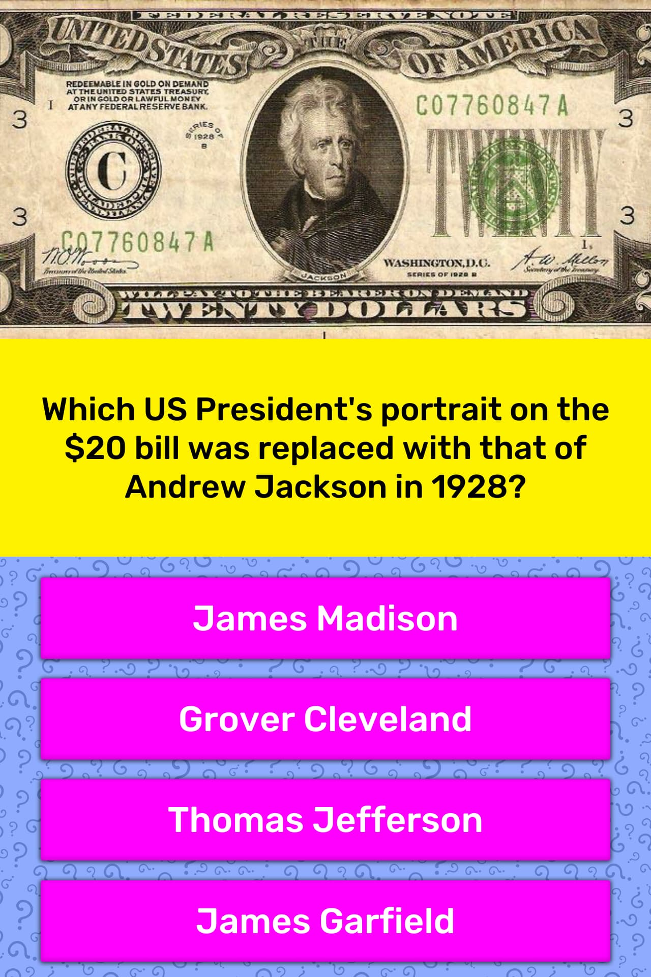 Which Us President S Portrait On The Trivia Answers