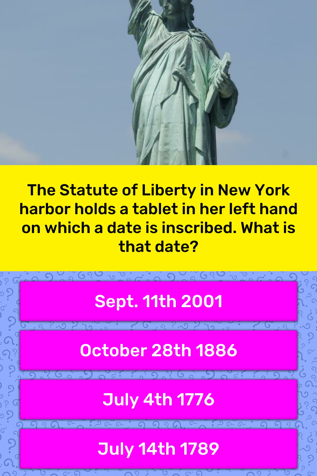 The Statute of Liberty in New York... | Trivia Questions | QuizzClub