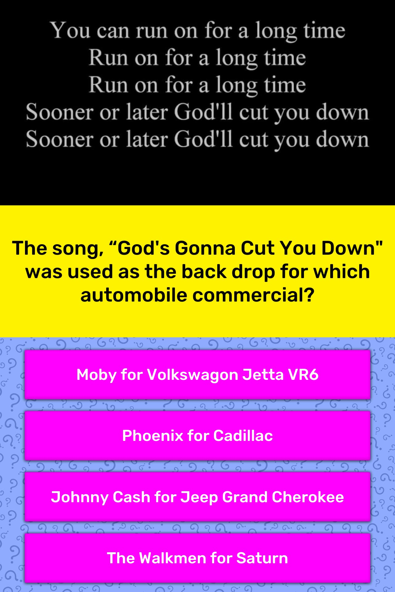 "Song""god's The Gonna DownTrivia Answers You Cut Quizzclub RL5jA3q4"