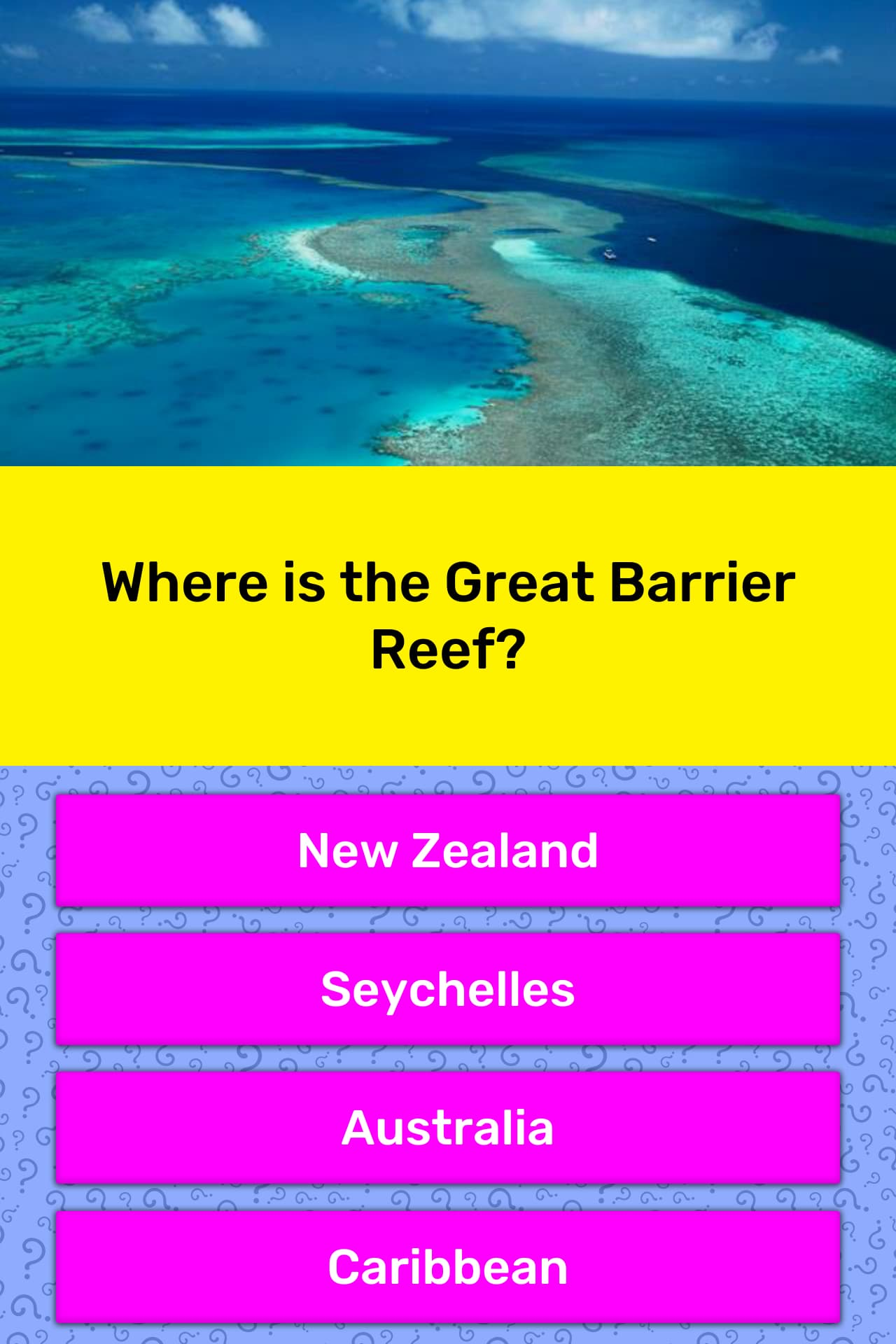 Where is the Great Barrier Reef? | Trivia Answers | QuizzClub