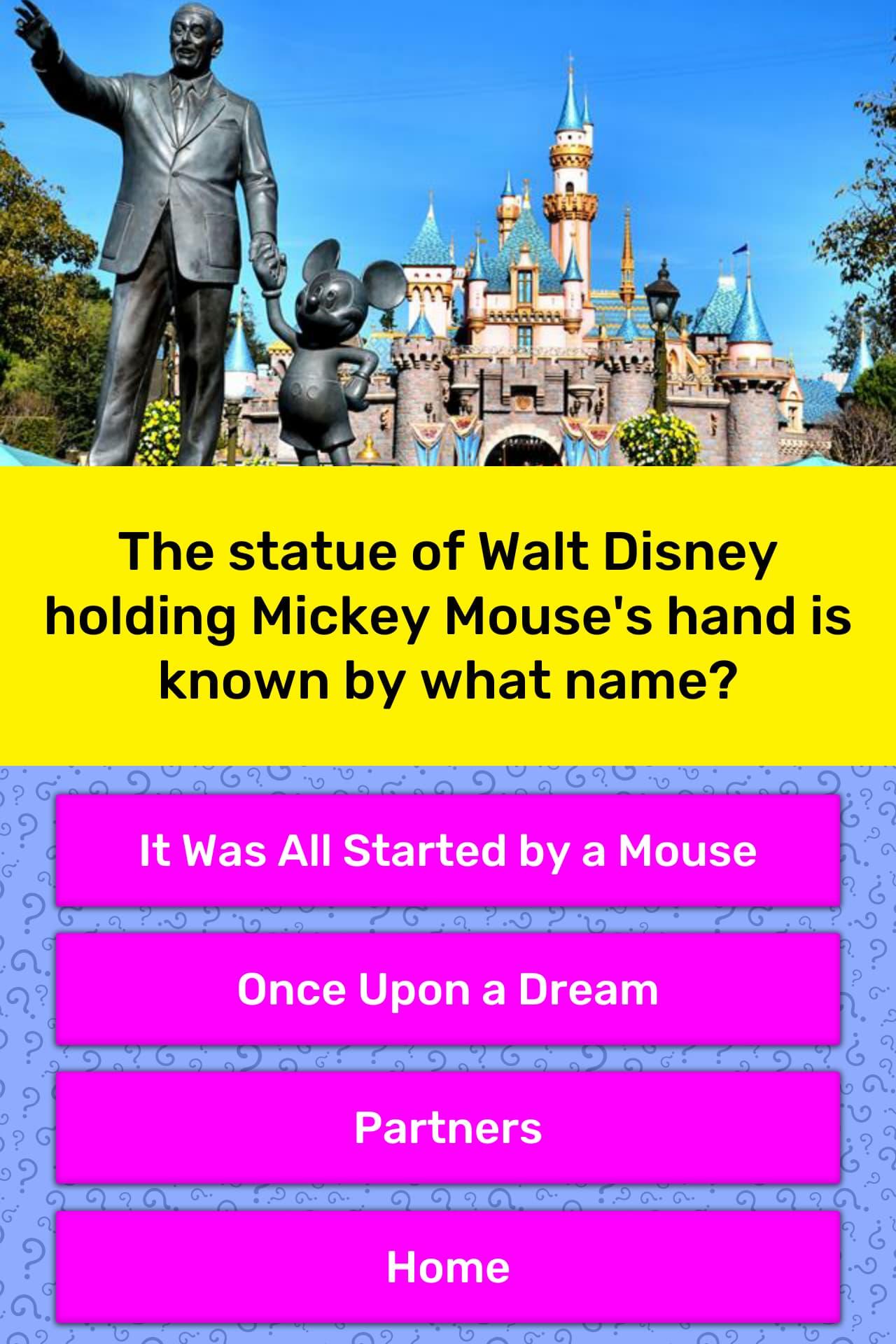 47d27f5216c The statue of Walt Disney holding... | Trivia Questions | QuizzClub