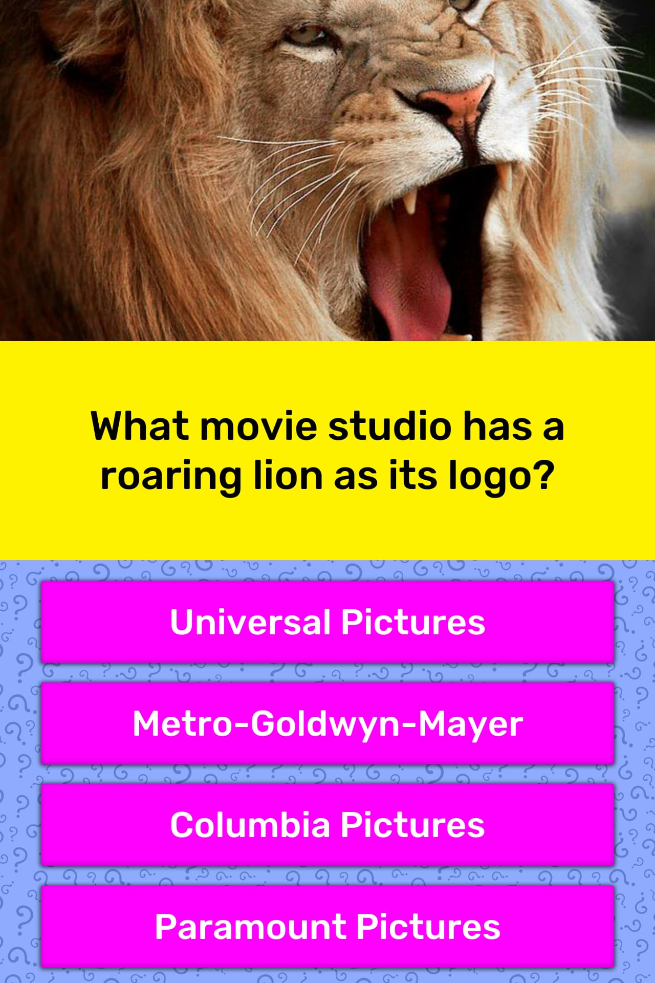 What Movie Studio Has A Roaring Lion Trivia Answers Quizzclub