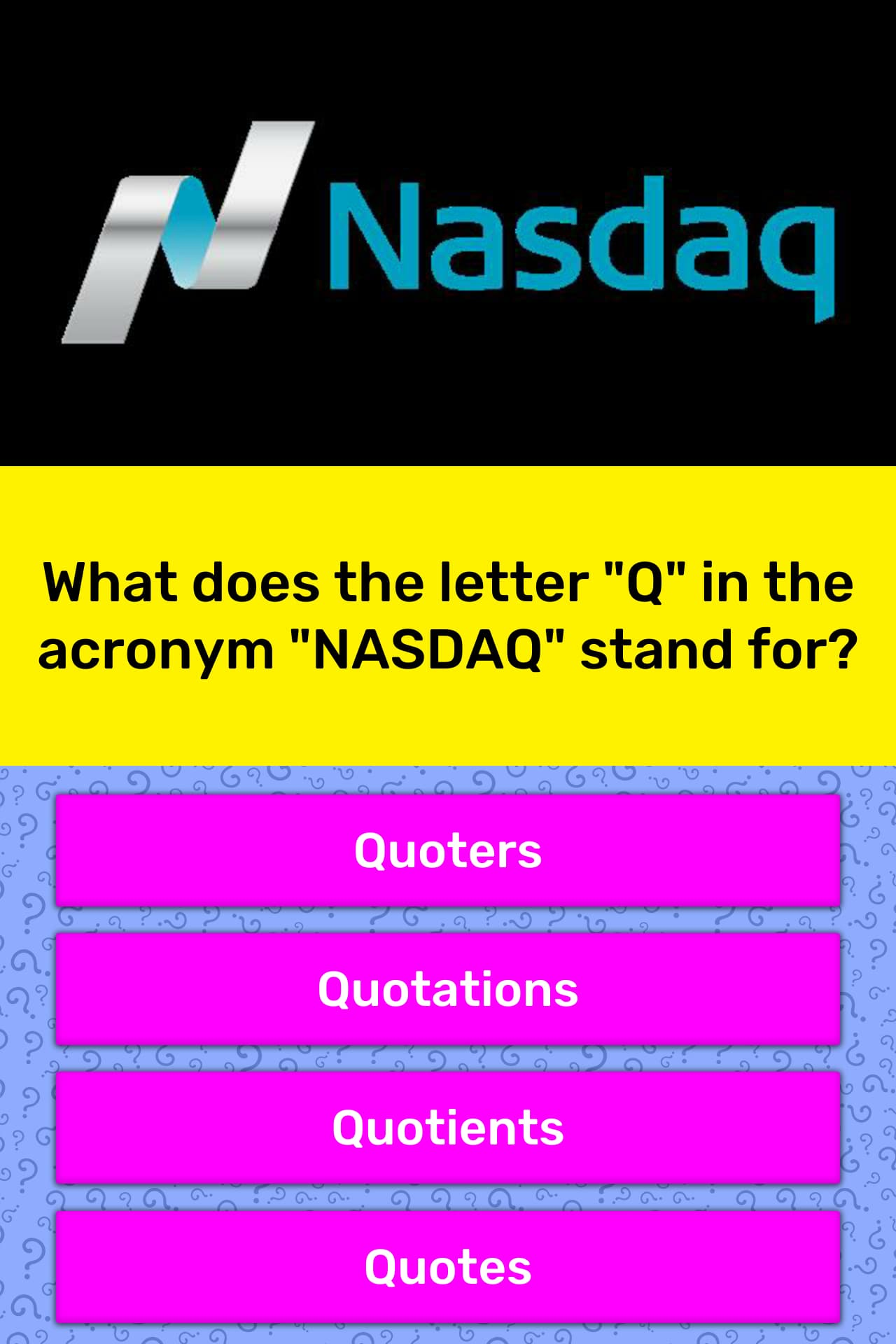 What Does The Letter Quot Q Quot In The Trivia Answers