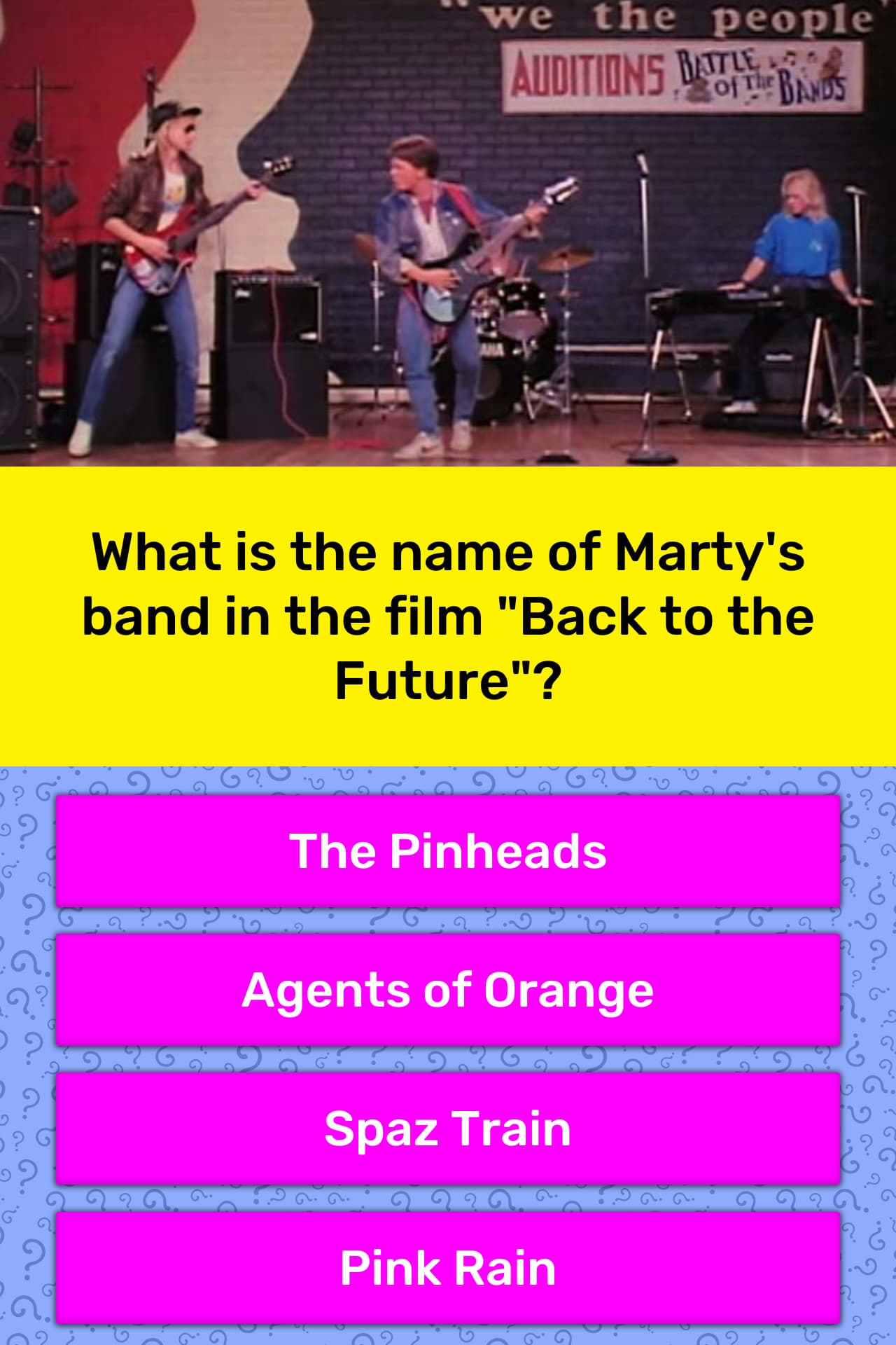 What is the name of Marty's band in...   Trivia Answers   QuizzClub