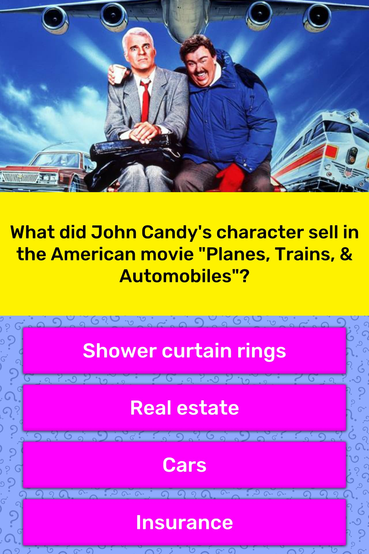 What Did John Candy S Character Sell Trivia Questions