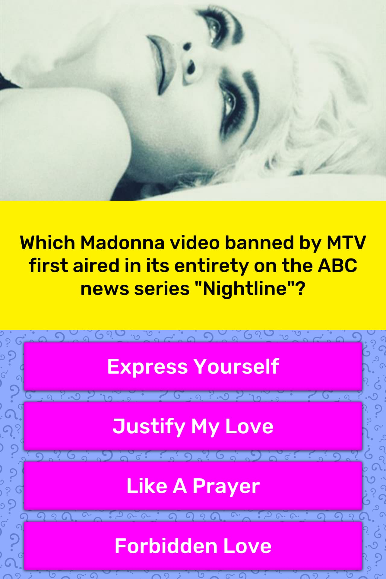 Which Madonna video banned by MTV      Trivia Answers   QuizzClub
