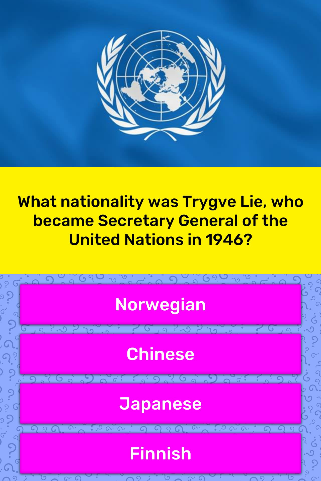 What Nationality Was Trygve Lie Who Trivia Answers Quizzclub