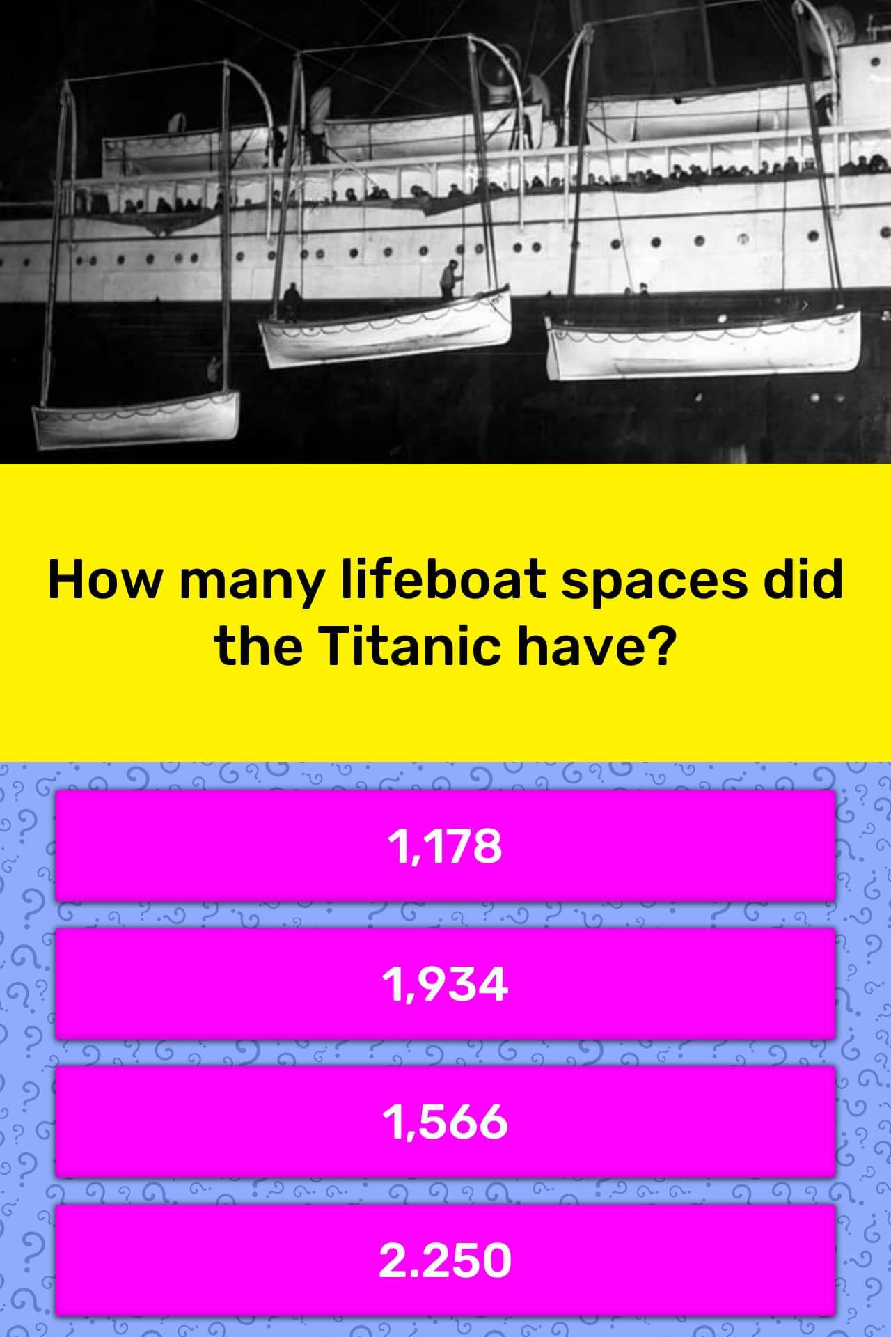 How many lifeboat spaces did the trivia answers - Did the titanic have swimming pools ...