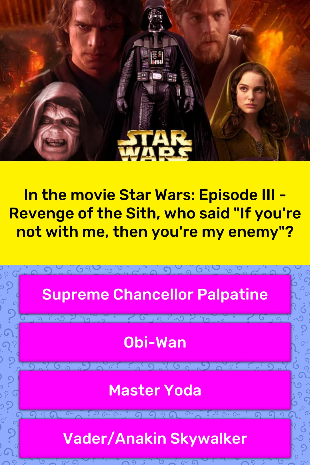 In The Movie Star Wars Episode Iii Trivia Answers Quizzclub