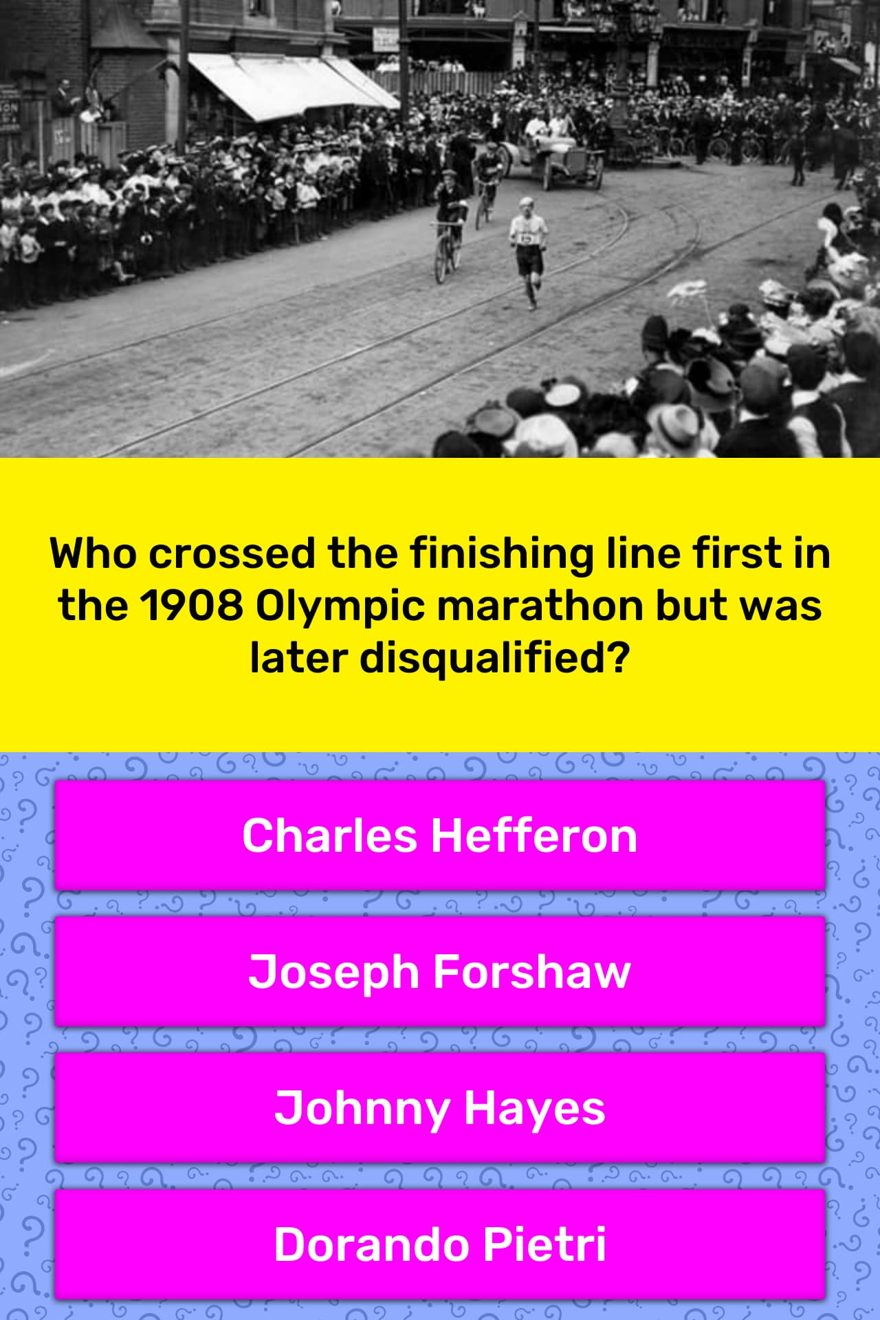 Who crossed the finishing line first    | Trivia Answers
