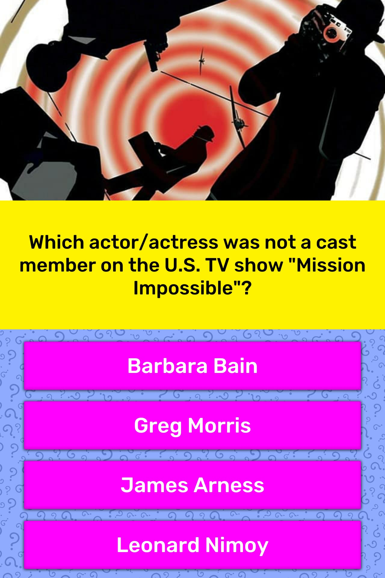 Which actor/actress was not a cast    | Trivia Questions