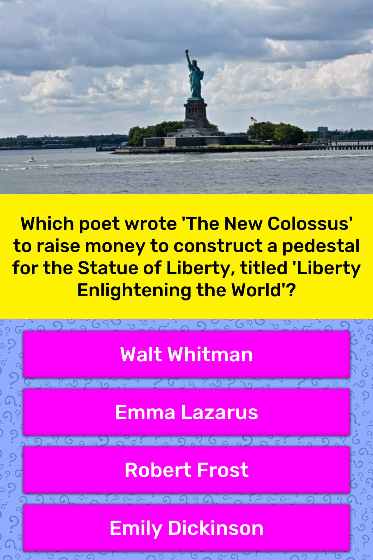 Which Poet Wrote The New Colossus Trivia Answers