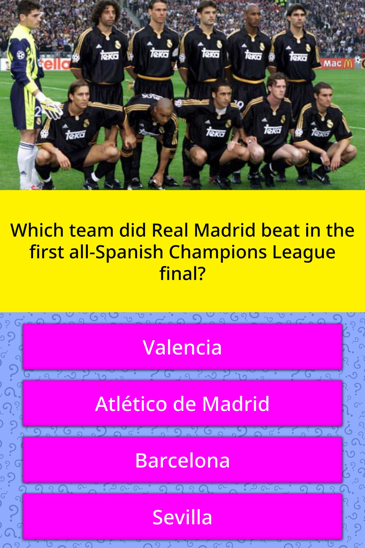 which team did real madrid beat in trivia answers quizzclub. Black Bedroom Furniture Sets. Home Design Ideas