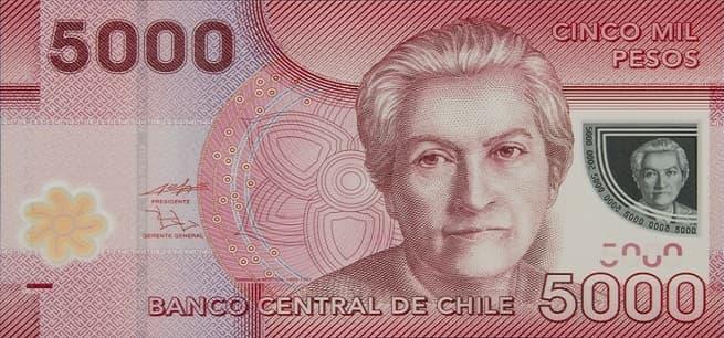 Cultura Pregunta Trivia: ¿Quién es la única mujer incluida entre las 5 figuras históricas que aparecen en los billetes que forman parte del sistema monetario chileno?