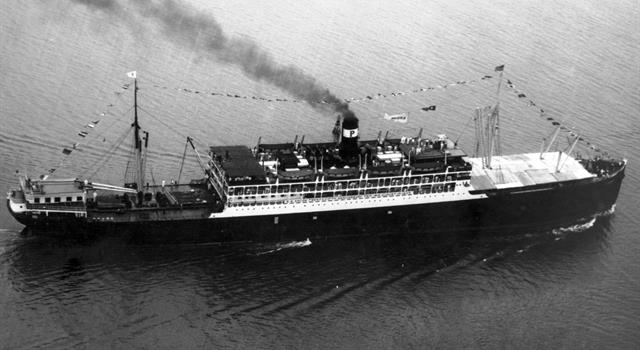 History Trivia Question: The SS Ancon became the first ship to do what?