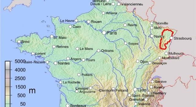 Geography Trivia Question: What is the name of the mountain range in North-Eastern France, that rises to the west of the river Rhine, between Mulhouse and Strasbourg?