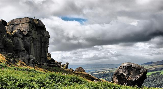 Geography Trivia Question: Where in the UK would you find the Cow and Calf Rocks?