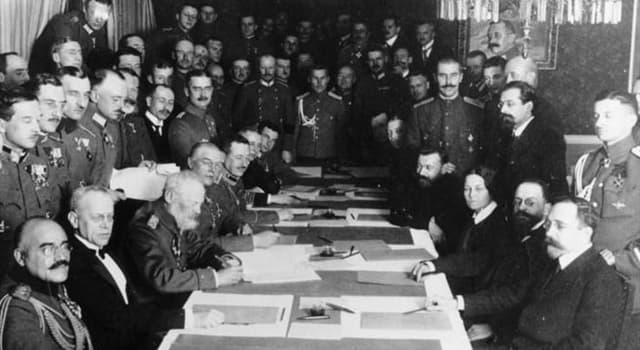 History Trivia Question: What was the name of the treaty signed by Germany, Austria and Russia that ended Russia's participation in World War I?